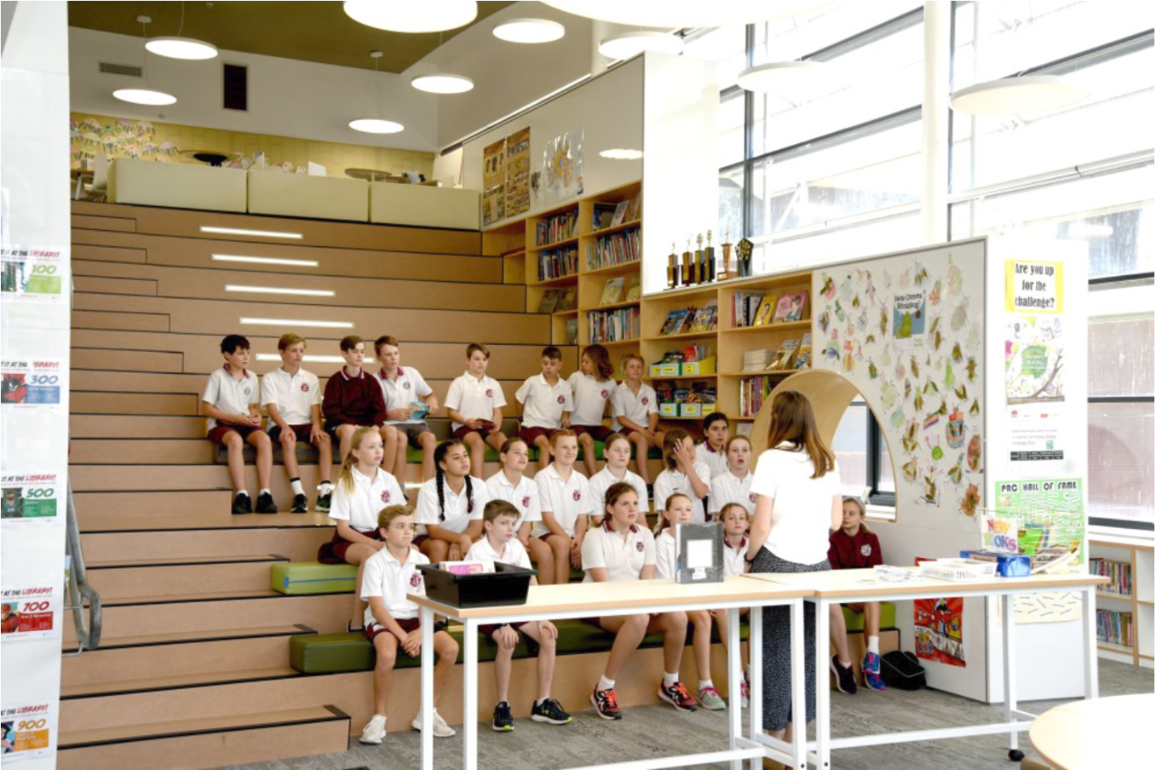 tiered seating in library